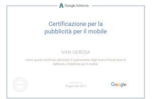 Certificazione Goolgle Mobile